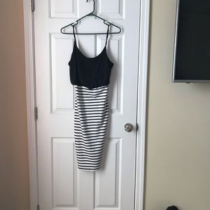 Black and white striped Venus bodycon dress